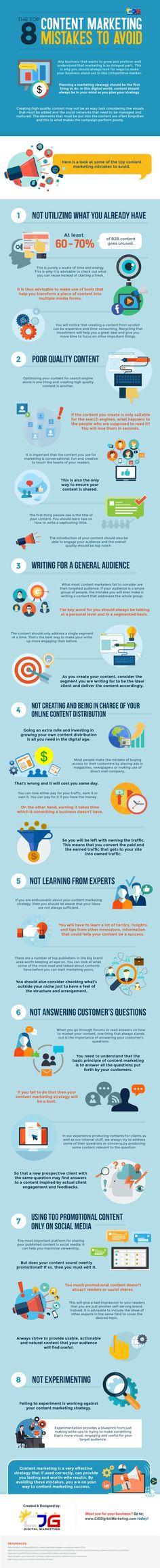 The Top 8 Content Marketing Mistakes To Avoid [Infographic] - @redwebdesign Clique aqui http://www.estrategiadigital.pt/ferramentas-de-marketing-digital/ e confira agora mesmo as nossas recomendações de Ferramentas de Marketing Digital