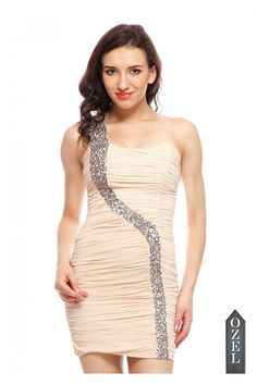 One Shoulder Sequin Drape Dress by Ozel Studio