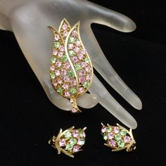 Lisner Tulip Set Vintage Rhinestones Brooch Pin & Earrings Pink & Green Flowers | eBay