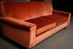Custom Upholstery Mid Century Taper Leg Mini Sofa. $478.00, via Etsy....love this flat armed sofa!