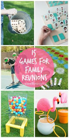 15 games that are perfect for family reunions and get togethers! Ranging from outdoor fun, to guessing games, there are activities for all ages!! { http://lilluna.com }