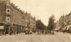 1920,Schiedamseweg in de richting van de wijk Tussendijken. Links de Schans en iets verderop de Watergeusstraat.