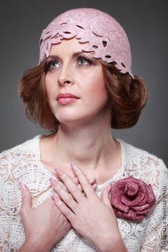 """""""Либерти"""" шляпка - розовый,Валяние,Мокрое валяние,шерсть,шерсть 100%,вискоза"""