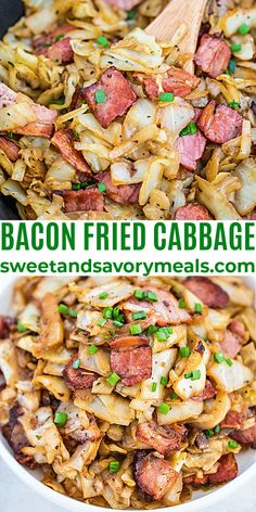 Bacon Fried Cabbage is delicious and super easy to make with only a few ingredients. #bacon #friedcabbage #cabbage #sweetandsavorymeals