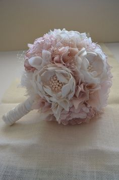 Large Bouquet  Blush Champagne and Cream by TheVintageCabbgeRose