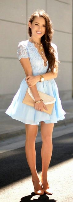 Little Lace Dress. Sky blue chiffon dress. Beige sand color accessories. So light and gorgeous