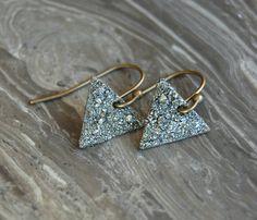 Crushed Crystal Druzy Small Arrow Earrings by bashfulowl on Etsy