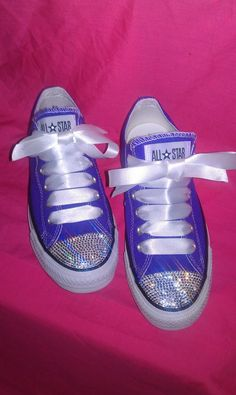 Gorgeous purple adult Lo Converse customised with 100% genuine Swarovski  Crystals with FREE matching satin 0500e2a9b