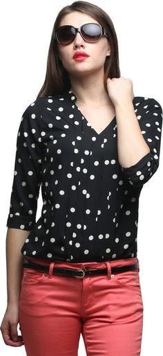#Faballey Formal 3/4 Sleeve #Polka Print Women's Top