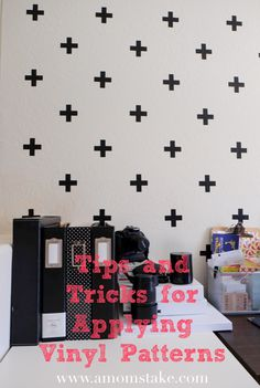 Home office space decorated with Vinyl! See Tips & Tricks on how to easily do this yourself!