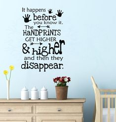 Handprints get higher, then disappear vinyl lettering art wall decal stickers childrens home décor-