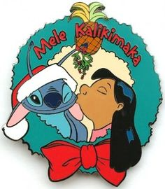 Lilo kisses Stitch under the mistletoe Mele Kalikimaka pin