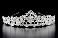 Jeweled Bridal Tiara with Scrolls and Flowers