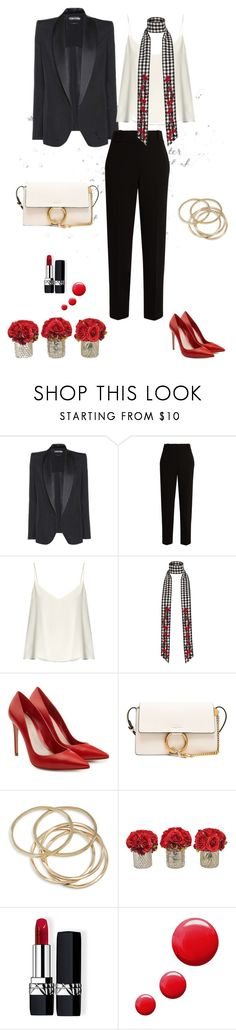 """Black, white, red"" by murenochek ❤ liked on Polyvore featuring Tom Ford, The Row, Raey, River Island, Alexander McQueen, Chloé, ABS by Allen Schwartz, The French Bee, Christian Dior and Topshop"