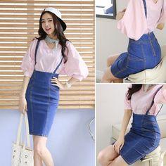 Fashion Women Strap High Waist Solid Denim Pocket Stretch Pencil Dress Suspender Dress