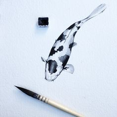 Water colours on paper today. #watercolours #painting #koi #paperskypbp