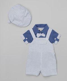 Blue Stripe Suspender Bodysuit Set - Infant by Harry