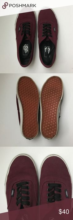 // Authentic • V a n s Burgundy color authentic style Vans. Slightly worn. Women's size 8.5 Vans Shoes Sneakers