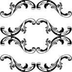 Vintage seamless baroque frame scroll corner ornament engraving border floral retro pattern antique style acanthus foliage swirl decorative design element filigree calligraphy  damask - stock vector