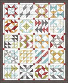 "Layer Cake Sampler quilt I Layout Option #1:  Finished Size:  80"" x 98"" Fabric Requirements: 1 print layer cake (blocks) 1 solid layer cake or 3 yards cut into 40 – 10"" squares (blocks) 1 ¾ yard solid for sashing (cut carefully, there is very little extra) ¼ yard or fat quarter for cornerstone squares 1 yard for border ¾ yard for binding 6 yards for backing"