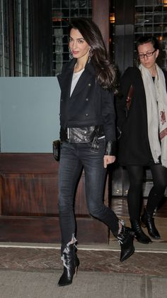 Amal Clooney Takes Her Wardrobe to an Edgy New Place - Vogue Amal Clooney, George Clooney, Fashion Night, Urban Fashion, Fashion Edgy, Fashion Black, Fashion Top, Edgy Fashion Winter, Fashion 2018
