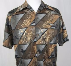 Reyn Spooner Hawaiian Shirt Large VTG 1950's Chinese Crane Dragon Wide Collar #ReynSpooner #Hawaiian