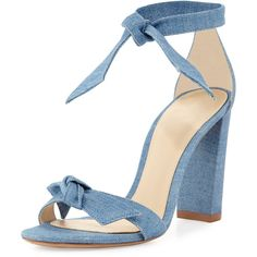 Alexandre Birman Clarita Knotted Suede Ankle-Wrap Sandal ($495) ❤ liked on Polyvore featuring shoes, sandals, blue, shoes sandals, platform sandals, block heel ankle strap sandals, blue suede shoes, suede shoes and toe strap sandals