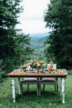 mountain reception table, photo by Boonetown Story http://ruffledblog.com/overcast-north-carolina-elopement #mountainwedding #weddingideas