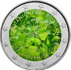 Έγχρωμο 2ευρω για την επέτειο 200 ετών του βοτανικού κήπου της Ljubljana, Σλοβενία, 2010