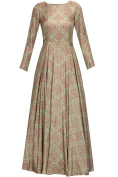 Green and pink printed anarkali with embroidered dupatta available only at Pernia's Pop Up Shop.