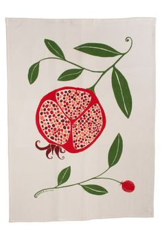 Pomegranate tea towel From HAPPYsthlm Photo: Fredrik Wahlberg © Folk Art Flowers, Flower Art, Pomegranate Art, Pomegranate Tattoo, Fruit Painting, Jewish Art, Plant Illustration, Fruit Art, Botanical Prints