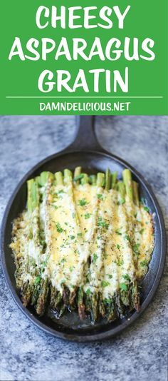 Cheesy Asparagus Gratin - A 5-min appetizer (or side dish)! Simply roast your asparagus with desired herbs, top with cheese and bake until cheesy goodness!