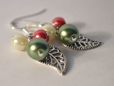 Hey, I found this really awesome Etsy listing at https://www.etsy.com/listing/212288838/christmas-earrings-leaf-earrings-pearl