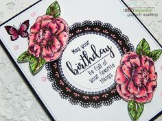 Rose gold foil flowers and butterfly.  Handmade birthday card.  Neat Nook Creations