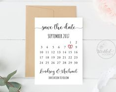Save the Date Calendar, Wedding Save The Date Card, Save The Date ...