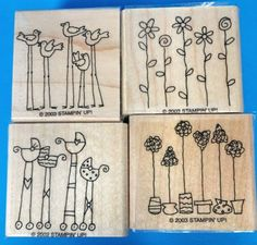 Set-of-4-New-Stampin-Up-Rubber-Stamps-Flowers-Baby-Carriages-Trees-Birds