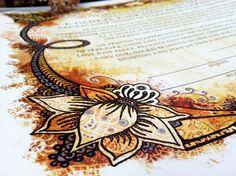 Henna Tattoo Indian Style Ketubah - Jewish Marrigage Contract perfect for interfaith fall funky yet elegant wedding. $120.00, via Etsy.
