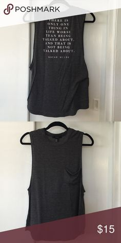 Oscar Wilde cutoff tank Worn maybe once. Super soft. Forever 21 Tops Tank Tops