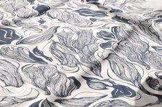 "Wippowillow hand-printed textile - ""Contour"" in navy."