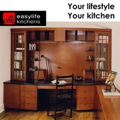Are you in need of a distinguished office in your home? Easylife Kitchens George will design and install your study cabinets to your specifications. making sure you look like the professional you are in your own home. #studycabinets #lifestyle #designercupboards