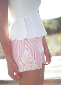 Judith March Seersucker Shorts (orange)  #shorts #lace #Seersucker #judithmarch