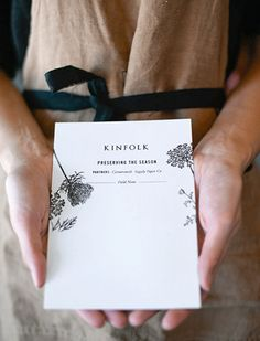 Supply Paper Co. for Kinfolk: Preserving the Season recipe and field note card. Those flowers as a tattoo