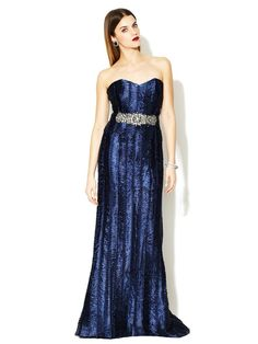 I'd love to wear this out somewhere nice.  Sweetheart Jewel Belted Gown by Badgley Mischka