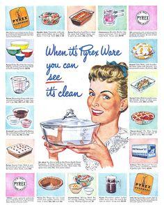 Vintage Pyrex glasssware advertisement #kitchen #collectible #advertising