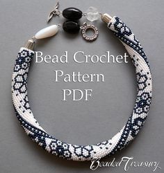 """Winter Lace"" bead crochet necklace pattern by BeadedTreasury."