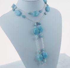 Aquamarine Lariat Necklace Gemstone Lariat by RivendellRockJewelry