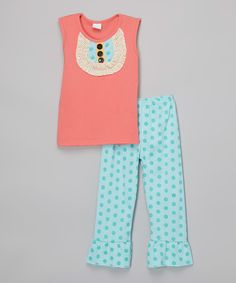 Look at this Adorable Sweetness Pink Bib Top & Teal Polka Dot Ruffle Leggings - Toddler & Girls on #zulily today!