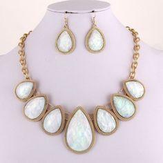 White Opal Facet Stones Bib Statement Necklace Earrings Set Fashion Jewelry #FashionJewelry