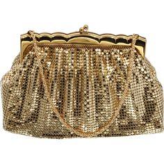 Whiting and Davis Gold Mesh Purse Vintage 1950s Mid Century Handbag
