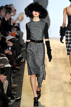 love that dress and those gloves.  black and grey  Red hot.  Michael Kors  Fall 2012 Ready-to-Wear